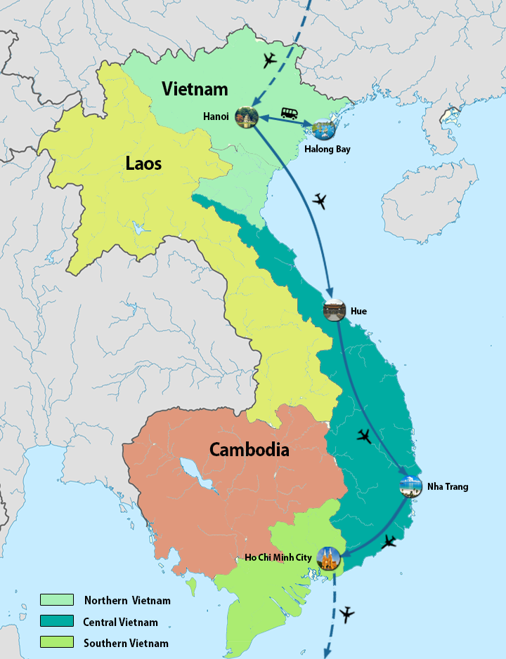 North Vietnam And South Vietnam Map.North To South Vietnam Tour 7 Days To Best Places In Vietnam
